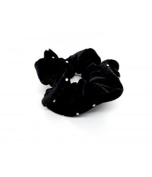 Велюровая резинка с камушками чёрная