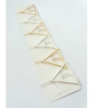 Заколка на челку Треугольник золото/серебро