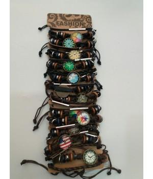 Браслет плетенный кожзам часы