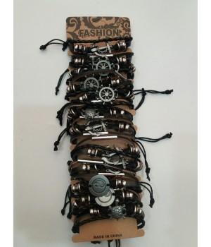 Браслет плетенный кожзам ассорти