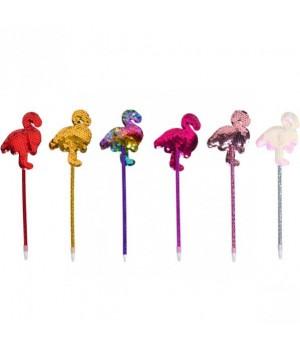 Ручка Фламинго с пайетками