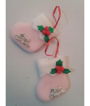 Новогодняя мягкая игрушка на ёлку носочек розовый