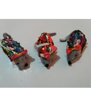 Мышка с пайетками на присоске 9 см