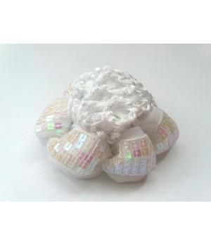 Резинка для гульки с пайетками белая