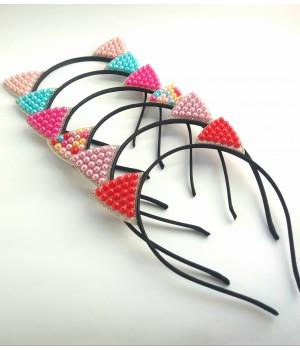 Обруч ушки с цветным жемчугом