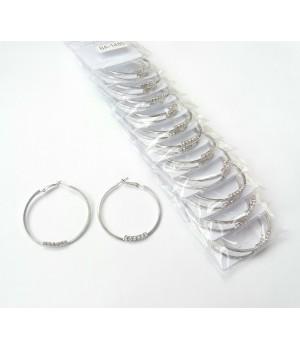 Сережки кольца под серебро с камнями
