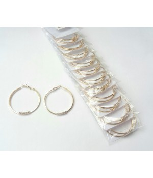 Сережки кольца под золото с камнями