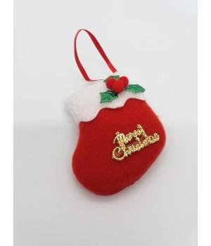 Новогодняя мягкая игрушка на ёлку носочек красный