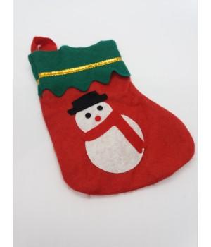 Новогодний носок Снеговик 18 см.