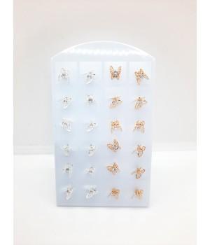 Сережки гвоздики Бабочка с камнем
